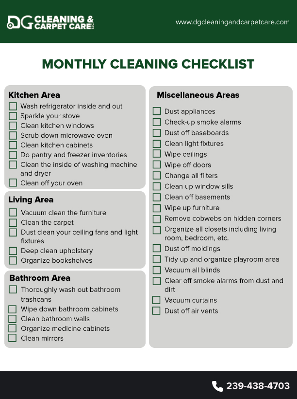 monthly cleaning checklist dgcleaning